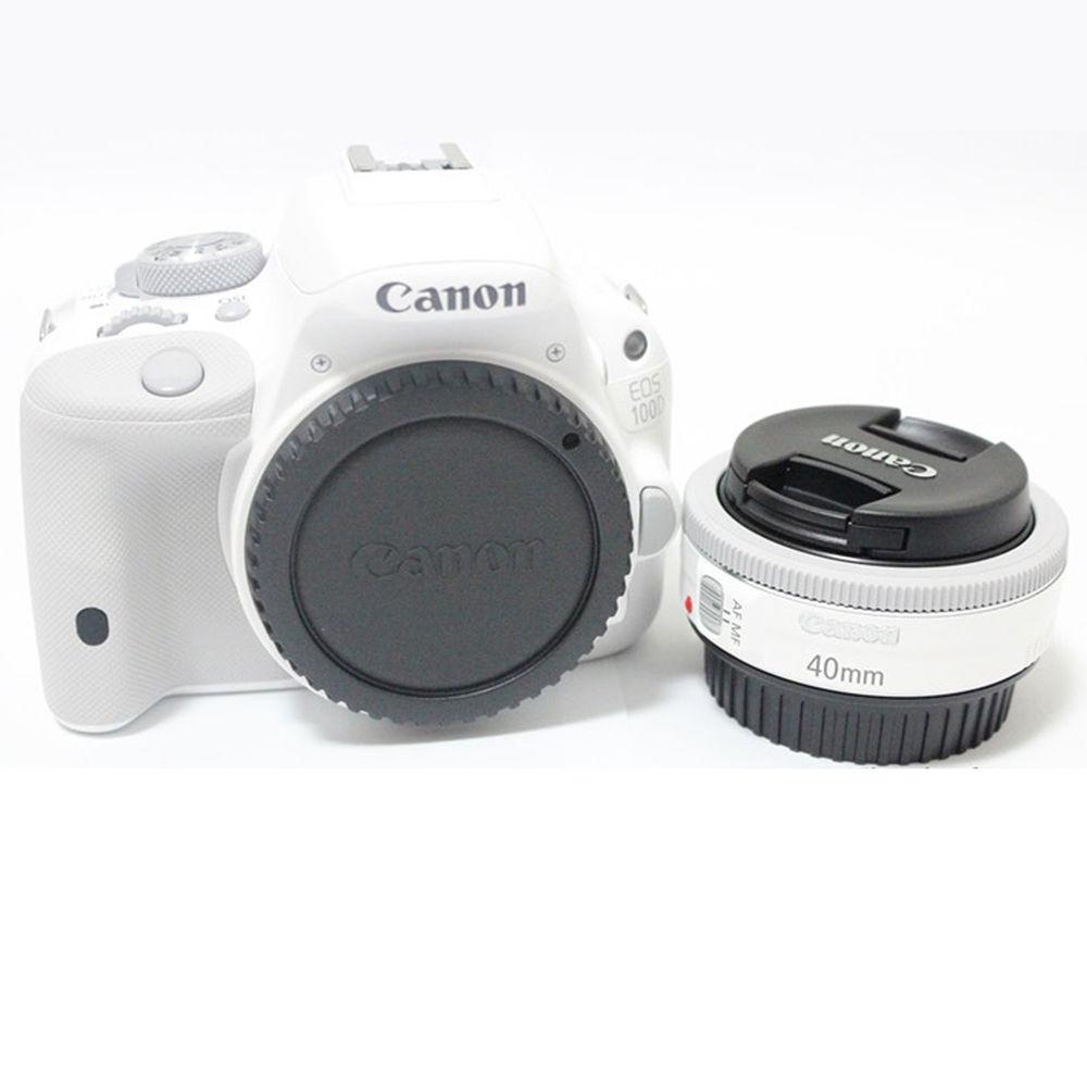 valge EOS 100D kaamera ja objektiiv