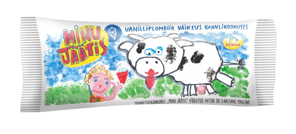 AS Balbiino esitleb lastekonkursi autasustamisel kolmeaastase Pauline kujundatud jäätist