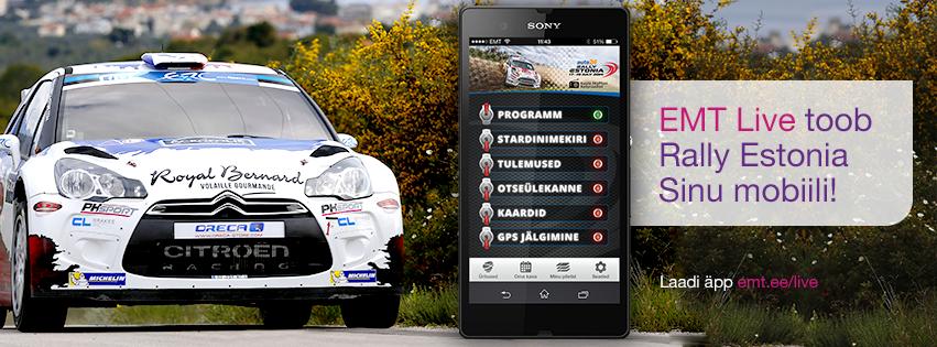 EMT toob auto24 Rally Estonia nutitelefoni