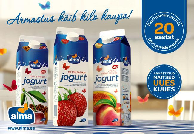JUUBEL! Alma tähistab klassikaliste jogurtite 20. juubelit uute maitsete ja värske pakendikujundusega