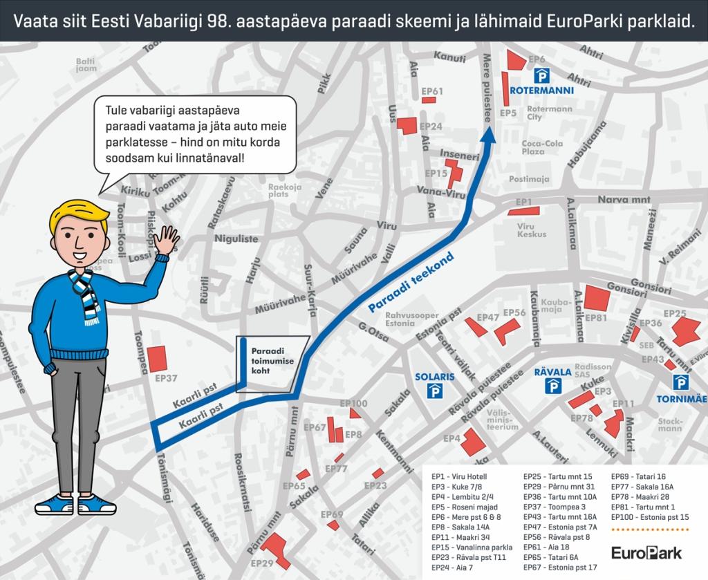 PARKIMINE PARAADILE MINNES! Parkimissoovitused seoses Eesti Vabariigi 98. aastapäeva paraadiga